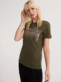 Kaki dámske tričko s potlačou Superdry
