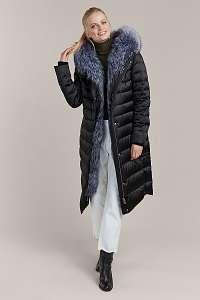 Kara čierny prešívaný zimný kabát s kožušinou