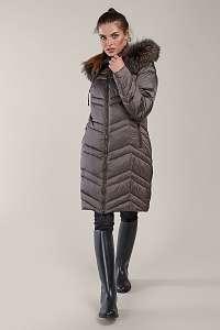 Kara metalicky hnedý zimný kabát s kožušinou