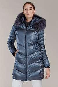 Kara metalicky modrý prešívaný zimný kabát