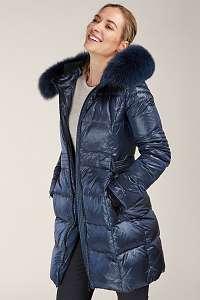 Kara modrý prešívaný zimný kabát s kožušinou
