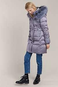 Kara sivý zimný kabát s kožušinou