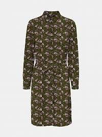 Khaki kvetované košeľové šaty VERO MODA Saga