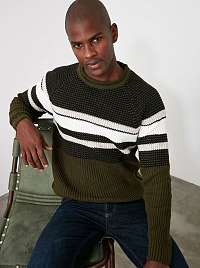 Khaki pánsky sveter Trendyol