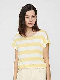 Krémovo–žlté pruhované tričko VERO MODA Wide