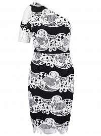 Little Mistress čierno-biele čipkované šaty s jedným rukávom
