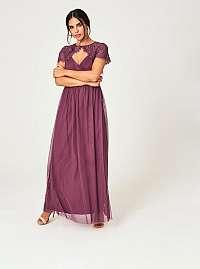 Little Mistress fialové tylové maxi šaty s čipkou