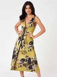 Little Mistress horčicové kvetované šaty