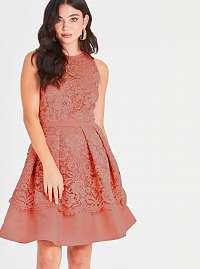 Marhuľové krajkové šaty Little Mistress