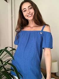 Modrá blúzka s odhalenými ramenami Trendyol