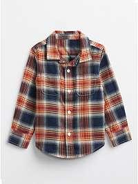 Modrá chlapčenskú košeľa flanelová GAP