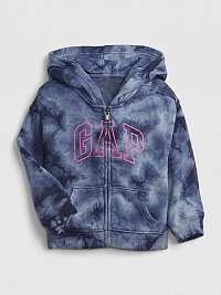 Modrá dievčenskú mikina GAP Logo tie-dye hoodie GAP