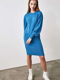 Modré svetrové šaty Trendyol