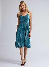 Modré zamatové šaty s plisovanou sukňou Dorothy Perkins