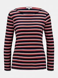 Modro-červené dámske pruhované tričko Tom Tailor