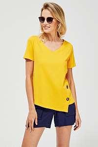 Moodo asymetrické žlté tričko s gombíkmi