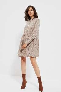 Moodo béžové bodkované košeľové šaty