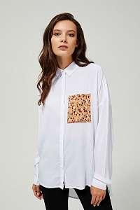 Moodo biela košeľa s leopardím vreckom