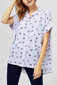 Moodo biela košeľa s motýlikmi  - XL