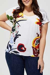 Moodo biele tričko s farebnými motívmi