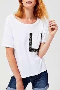 Moodo biele tričko s čipkovaným vrecúškom - M