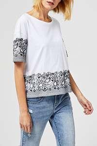 Moodo biele tričko s čiernymi motívmi  - XL