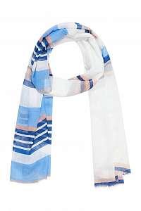 Moodo bielo-modrá šatka s pruhmi