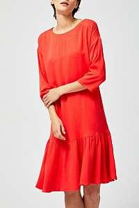 Moodo červené šaty s volánom a šnurovaním - M