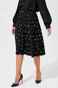 Moodo čierna plisovaná sukňa s bodkami