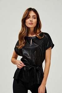 Moodo čierne metalické tričko s viazaním