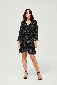 Moodo čierne šaty s drobným vzorem