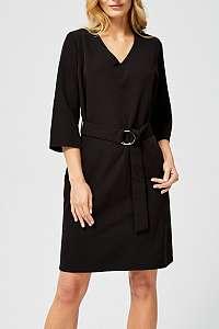 Moodo čierne elegantné šaty s opaskom  - XXL