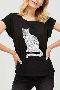 Moodo čierne tričko s mačkou