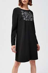 Moodo čierne šaty so sivými výšivkami  - L