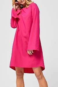 Moodo fuchsiové šaty s volánovými rukávmi - XL