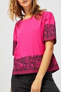 Moodo fuchsiové tričko s čiernymi motívmi  - XL