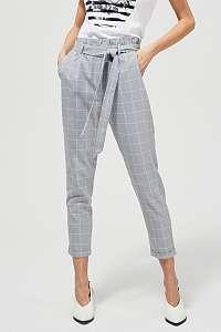 Moodo sivé kockované nohavice