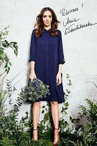Moodo tmavo modré košeľové šaty s golierom  - L