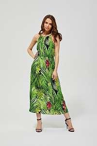 Moodo zelené šaty s tropickými motívmi
