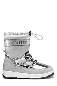 Moon Boot strieborné zimné topánky JR Girl Soft WP Silver