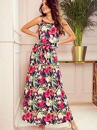 Numoco ružové maxi kvetované šaty