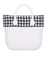 O bag čierno-biely lem na telo Standard Maxi Pied de Poule s kohúťou stopou