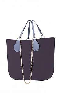 O bag  fialové kabelka MINI Viola Scuro s řetízkovým držadlem a modrou koženkou