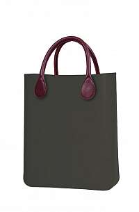 O bag  hnedé kabelka O Chic Volcano s bordovými krátkymi koženkovými držadlami