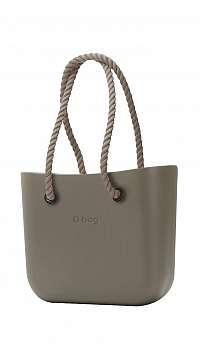 O bag kabelka Rock sivá s povrazovými rúčkami natural