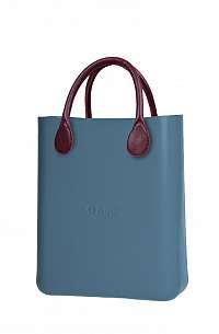 O bag  modré kabelka O Chic Carta Zucchero s bordovými krátkymi koženkovými držadlami