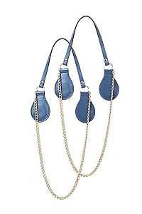 O bag modré koženkové rúčky Avio so zlatými retiazkami