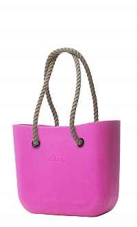 O bag  ružové kabelka Violetto s dlhými povrazmi natural