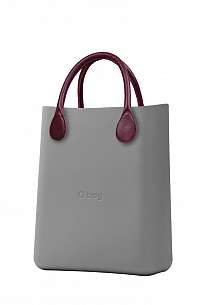 O bag  sivé O Chic Grigio Chairo s bordovými krátkými koženkovými držadly