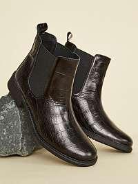 OJJU čierne chelsea kožené topánky